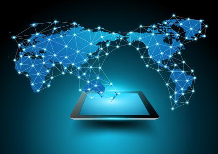 태블릿 컴퓨터 비즈니스 기술 개념, 크리 에이 티브 네트워킹 정보 처리 데이터도, 벡터 일러스트 레이 션 현대 템플릿 디자인 세계지도 연결