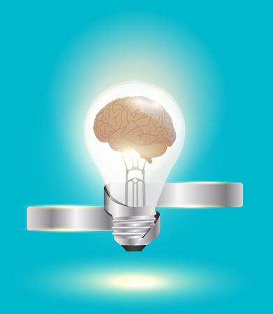 Light bulb with brain idea concept Vector