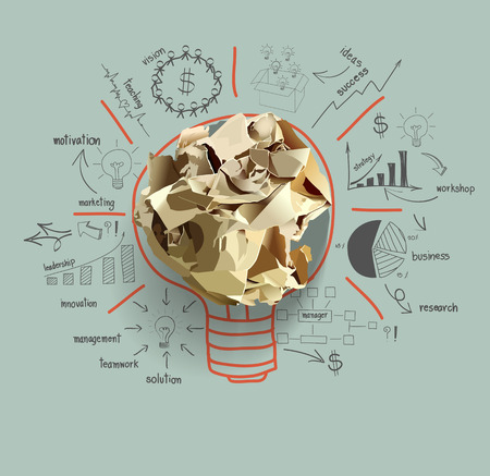 Light bulb crumpled paper with creative drawing business success strategy plan idea Vector