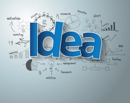 pensamiento creativo: Con gr�ficos de dibujo creativos y gr�ficos estrategia de �xito en los negocios idea del plan Vectores