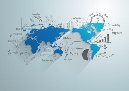 Carte du monde avec tableau et graphiques de dessin créatif réussite de l'entreprise plan de stratégie idée