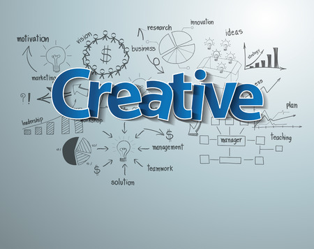 Creative text with drawing business success strategy plan idea Ilustração