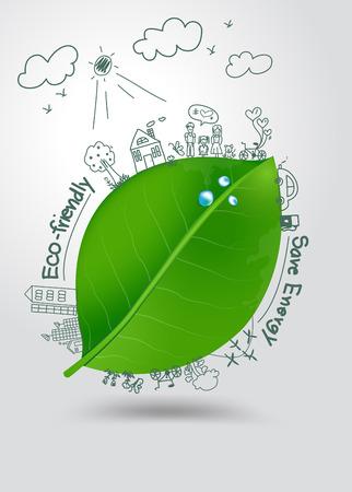 Creatieve tekening op groen blad met water druppels omgeving met gelukkige familie verhalen conceptenidee Stock Illustratie
