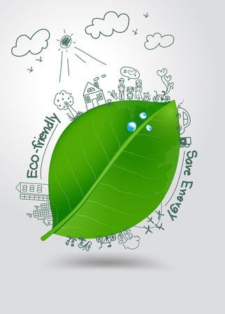 save energy icons:  Creative drawing on green leaf with water drops environment with happy family stories concept idea