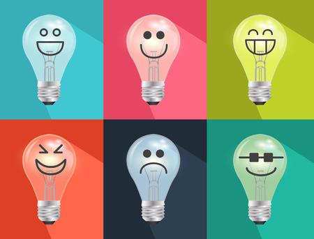 Set of Hand drawn cartoon light bulbs Vector