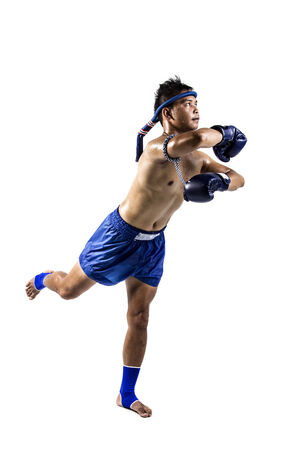 Thai boxer with thai boxing action, isolated on white background photo