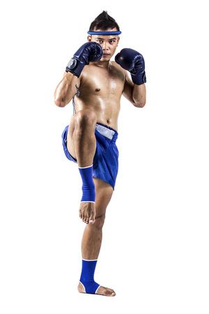 thai boxing: Thai boxer with thai boxing action, isolated on white background Stock Photo