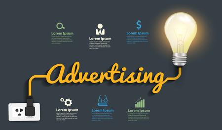 Werbung Konzept, Kreativ Glühbirne Idee abstrakte Infografik Layout Diagramm, step up-Optionen, Vector illustration moderner Design-Vorlage