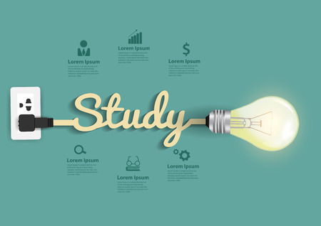 study concept: Study concept modern design template, Light bulb idea abstract infographic workflow layout, diagram, step up options, Vector illustration