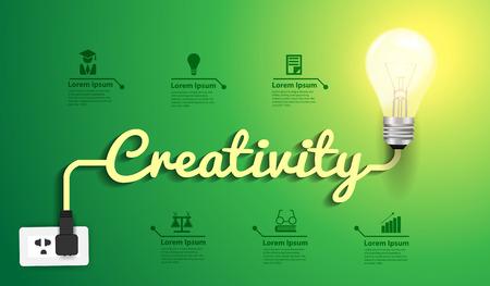 concept de créativité modèle de design moderne, ampoule idée lumière abstraite disposition de flux de travail infographique, diagramme, intensifier les options, Vector illustration