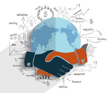 Creatieve tekening grafiek en grafieken businessplan idee over de aardbol, Handdruk zakelijke financiën wereld concept modern design template workflow lay-out, diagram, intensiveren opties, Vector illustratie