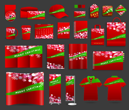 Christmas light background with corporate identity templates design, Blank name card, envelope, mugs, calendar, notebook paper, folded paper, magazine cover, exhibition banners stands, polo t shirt Vector