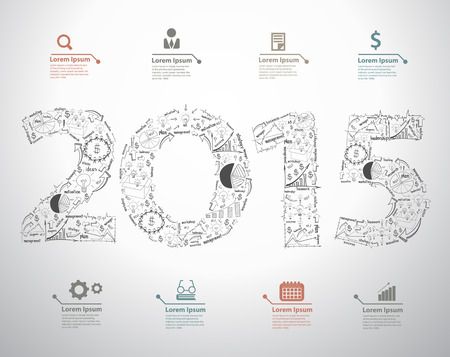 New year 2015 text design with creative drawing business success strategy plan ideas, Inspiration concept modern design template layout, data, diagram, step up options, Vector illustration Vector