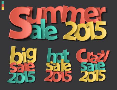 paper folding: New year 2015 paper folding design, Summer sale, Big sale, Hot sale, Crazy sale, Vector illustration modern design template Illustration