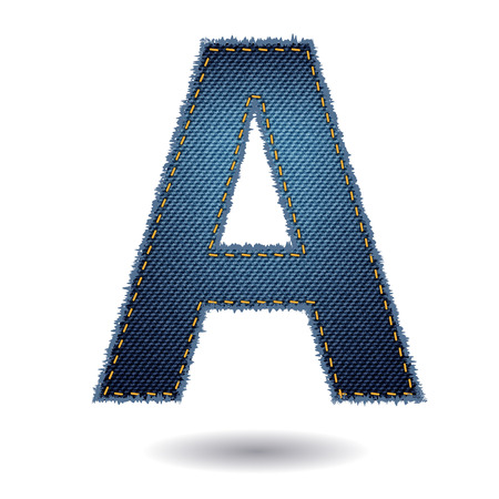 linen texture: Jeans alphabet isolated on white background, Vector illustration template design