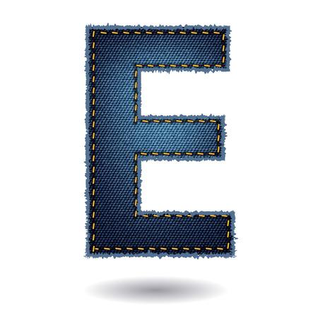 denim jeans: Jeans alphabet isolated on white background, Vector illustration template design