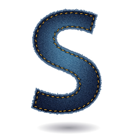 jeans texture: Jeans alphabet isolated on white background, Vector illustration template design