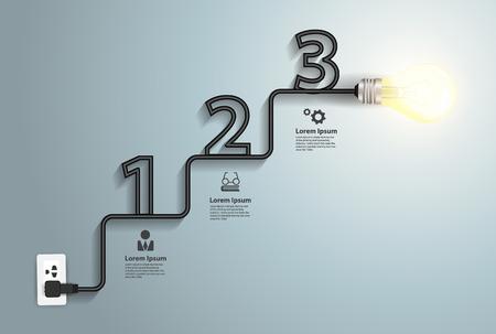 conocimiento: Idea bombilla creativo infograf�a resumen, el concepto de la inspiraci�n moderno dise�o de flujo de trabajo de plantilla de dise�o, diagrama, los n�meros de intensificar opciones bandera, ilustraci�n vectorial