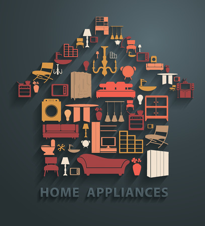 vintage furniture: Flat design concepts home appliances icons, Vector illustration modern template design