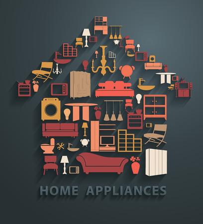 Piso conceptos de diseño electrodomésticos iconos, ilustración vectorial moderno diseño de la plantilla Ilustración de vector