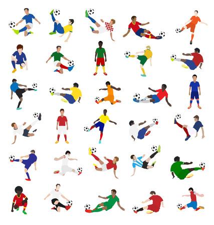 futbolista: Colección de jugadores de fútbol, ??diseño de ilustración vectorial plantilla Vectores