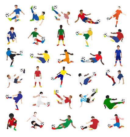football players: Colecci�n de jugadores de f�tbol, ??dise�o de ilustraci�n vectorial plantilla Vectores