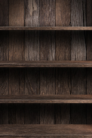 exhibition: Wood shelf, grunge industrial interior Uneven diffuse lighting version. Design component