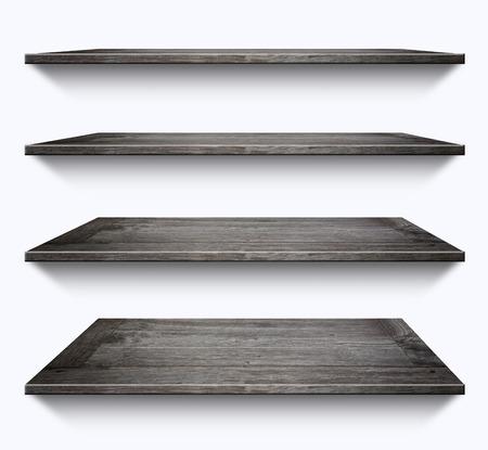 book racks: Wooden shelves isolated on white background