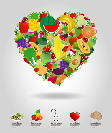 Heart of fruits and vegetables, vector illustration template design Vector