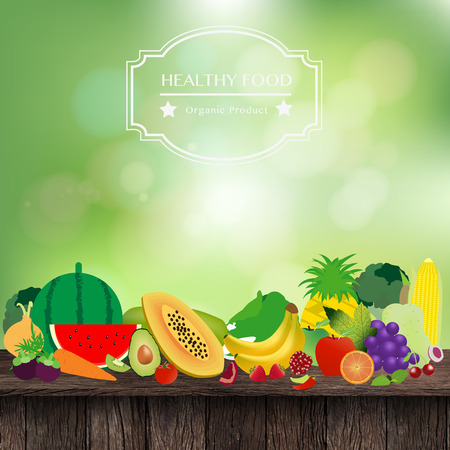 fresh produce: Fruits and vegetables on wooden table, With fresh spring green bokeh and sunlight background, Vector illustration template design Illustration