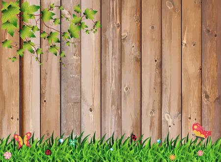 fence park: Fresh spring green grass with leaf plant over wood fence background, Vector illustration template design Illustration