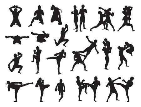 Thai Boxe combattere danza tradizionale prima lotta, illustrazione vettoriale