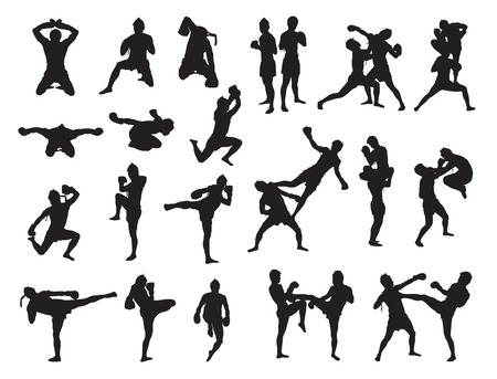 Thai Boxing fight traditional dance before fight, Vector illustration Иллюстрация