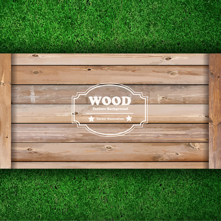 timber frame: Wooden board on green grass texture background, Vector illustration template design Illustration