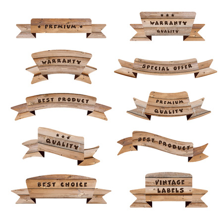 Vector wood signs isolated on white background