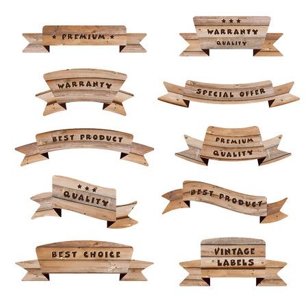 Vector houten borden geïsoleerd op een witte achtergrond