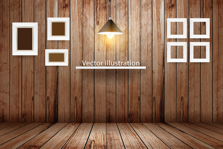 wooden shelf: Empty wooden room, Vector illustration template design
