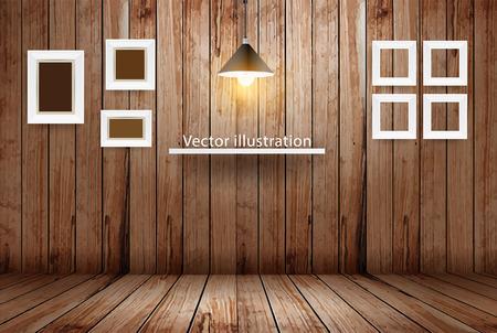 marco madera: Habitaci�n de madera vac�a, dise�o Ilustraci�n vectorial de plantilla Vectores
