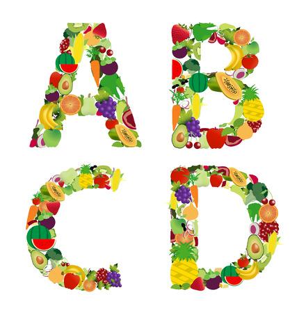 Vector illustration fruit and vegetable alphabet letter