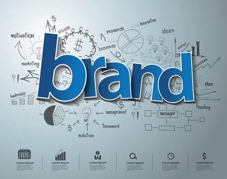 identidad: Texto Brand, con gráficos de dibujo creativos y gráficos idea estrategia de éxito empresarial plan, concepto Inspiration moderno diseño de flujo de trabajo de plantilla de diseño, diagrama, intensificar opciones, ilustración vectorial Vectores