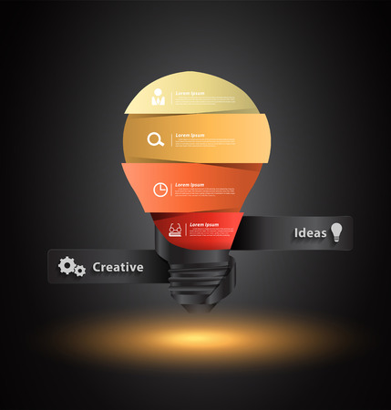 Creative light bulb idea with number banners template step up options design, Vector illustration