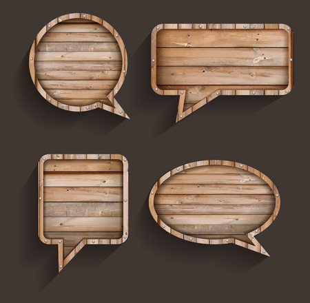 Vector wood sign of speech bubbles template design Vector