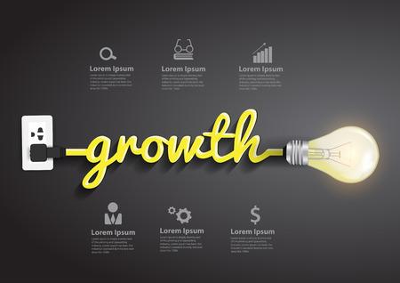 Crecimiento concepto, idea bombilla creativo diseño infográfico abstracto, diagrama, intensificar opciones, ilustración vectorial moderno plantilla de diseño