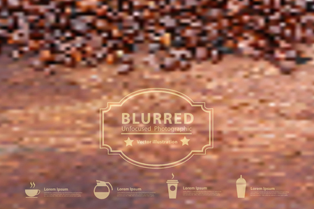 Vector blurred with coffee beans on wood background