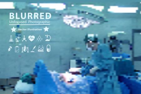 operating room: Vector borrosa con el cirujano en el trabajo en sala de operaciones
