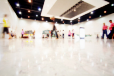 exhibition crowd: Blurred people inside modern building Stock Photo