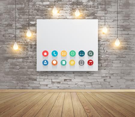 marco madera: Maqueta remitente con lámparas, espacio de trabajo moderno con iconos planos de negocios de tecnología, ilustración vectorial moderno diseño de la plantilla