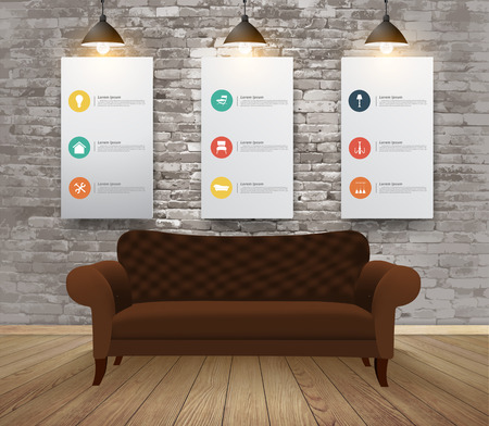 brick work: Mock up posters with retro hipster interior background, With furniture flat icons, Vector illustration modern template design