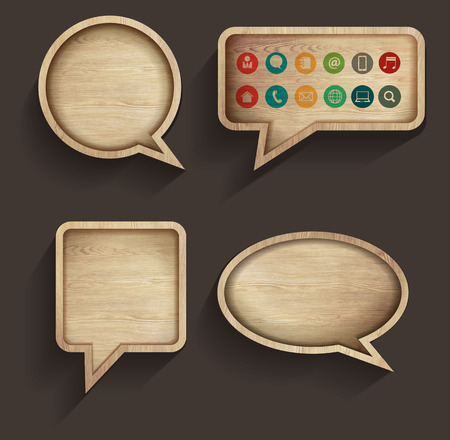 Vector wood sign of speech bubbles template design, With business flat icons Vector