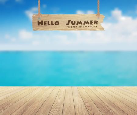 Prachtig uitzicht op zee en houten planken vloer achtergrond, Vector illustratie ontwerp